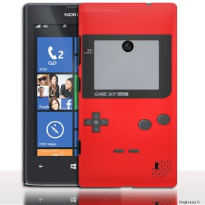 coque rigide lumia 520 au design Game Boy Rouge.